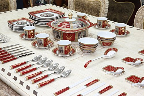 Royalty Porcelain Madonna Antique Red 75-pc Large Dinner and Sushi set, Service for 6, Vintage dinnerware banquet set in a case