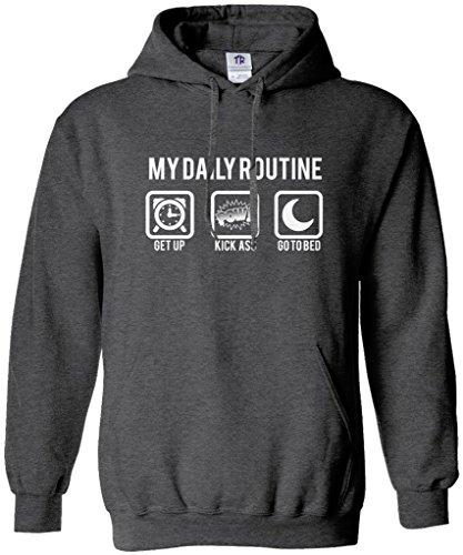 Threadrock Men's My Daily Routine Hoodie Sweatshirt XL Dark Heather (Best Bicep Routine For Size)