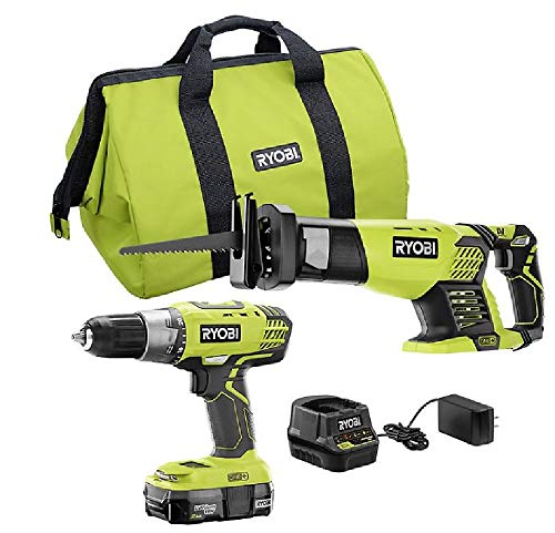 RYOBI P1986 18V ONE+ Drill and Reciprocating Saw Kit with 2.0 Ah Battery and Charger