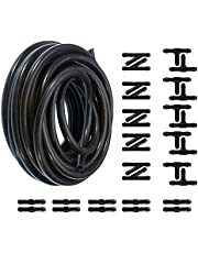 5m Windshield Washer Hose Kit with 30pcs Connectors - Rubber Windscreen Washer Fluid Hose Pipe tube with 30 PCS Hose Connectors Y I T Type - Connect Car Water Pump and Nozzles Replacement for Most Windshield Washer Nozzle Installation (5 Meters Length)