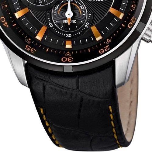 Festina F6821/4 - Reloj cronógrafo de cuarzo para hombre con correa de piel, color negro: Amazon.es: Relojes