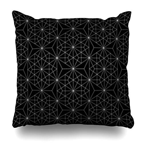 DaniulloRU Throw Pillow Covers Endless Pattern Modern Sacred Geometry Black White Abstract Monochrome Graphic Stars Home Decor Sofa Cushion Cases Square Size 20 x 20 Inches Pillowcase ()