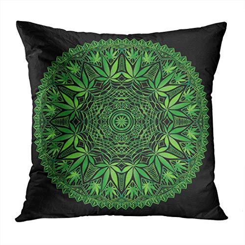 Sgvsdg Throw Pillow Cover Intricate Funky Cannabis Theme Mandala Hand Square Hidden Zipper Home Living Room Car Cushion Cover Decorative Pillowcase 18 X 18 ()
