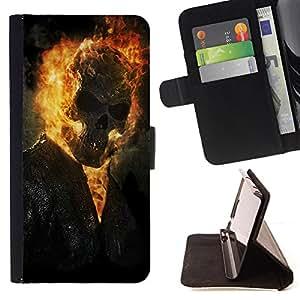 - Grim Reaper Skull Fire Biker Metal - Estilo PU billetera de cuero del soporte del tir???¡¯????n [solapa de cierre] Cubierta- For Samsung Galaxy S5 Mini, SM-G800 £š Devil Case £©
