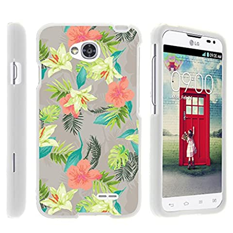 Case for LG Optimus L70 / LG Ultimate 2 L41C / LG Realm LS660 , Rubberized Snap On Shell Full Cover Case Slim Fitted White Cover with Unique Images, From TURTLEARMOR | 2 in 1 Combo Includes Clear Screen Protector and Case - Pink Yellow (Cover De Lg 70)