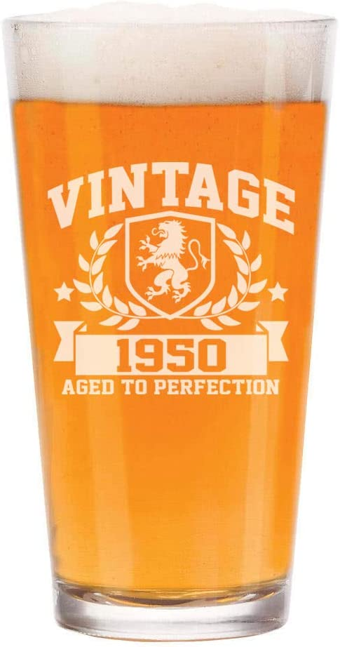 Vintage 1960 Etched 16oz Pint Beer Soda Glass 60 Years Old Gifts 60th Birthday Aged to Perfection