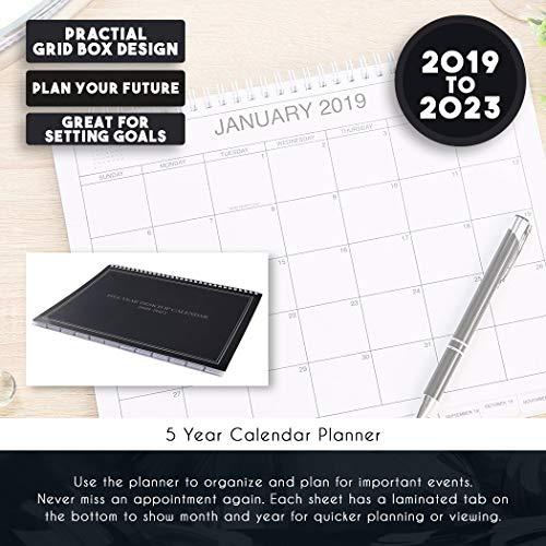 5-Year Calendar Planner - 2019-2023 Monthly Schedule Organizer Desktop Flip Calendar with Tabs, Top Spiral Bound, 5 Year Agenda, 11 x 8.5 inches