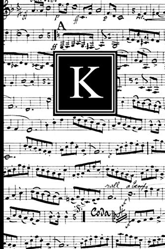 K: Musical Letter K Monogram Music Journal, Black and White Music Notes cover, Personal Name Initial Personalized Journal, 6x9 inch blank lined college ruled notebook diary, perfect bound, Soft Cover