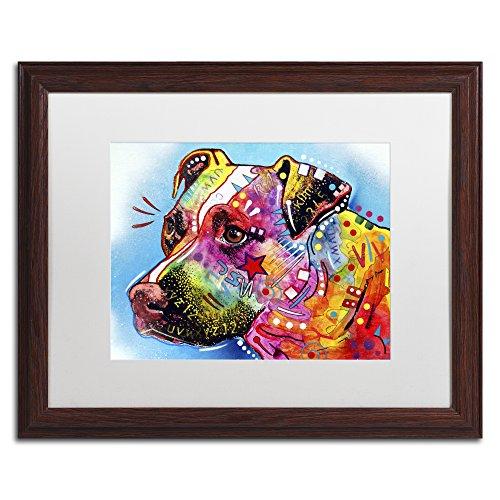 Trademark Fine Art ALI1586-W1620MF Pit Bull 1059 by Dean Russo, White Matte, Wood Frame 16x20