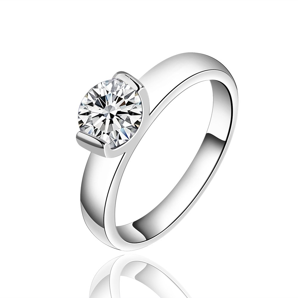 FENDINA 18k White Gold Plated 1 Carat Round Cubic Zirconia Solitaire Wedding Engagement Rings, Size 7 to 8
