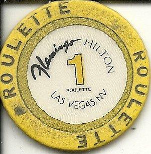 $1 flamingo hilton las vegas casino chip roulette table 1 yellow