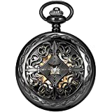AMPM24 Steampunk Black Copper Case Skeleton Mechanical Pocket Watch Fob WPK167