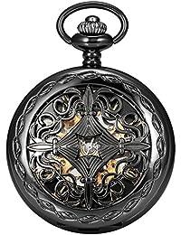 Steampunk Black Copper Case Skeleton Mechanical Pocket Watch Fob WPK167