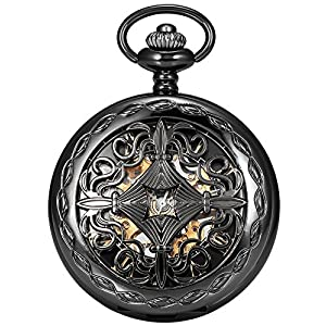 AMPM24 Steampunk Black Copper Case Skeleton Mechanical Pocket Watch Fob