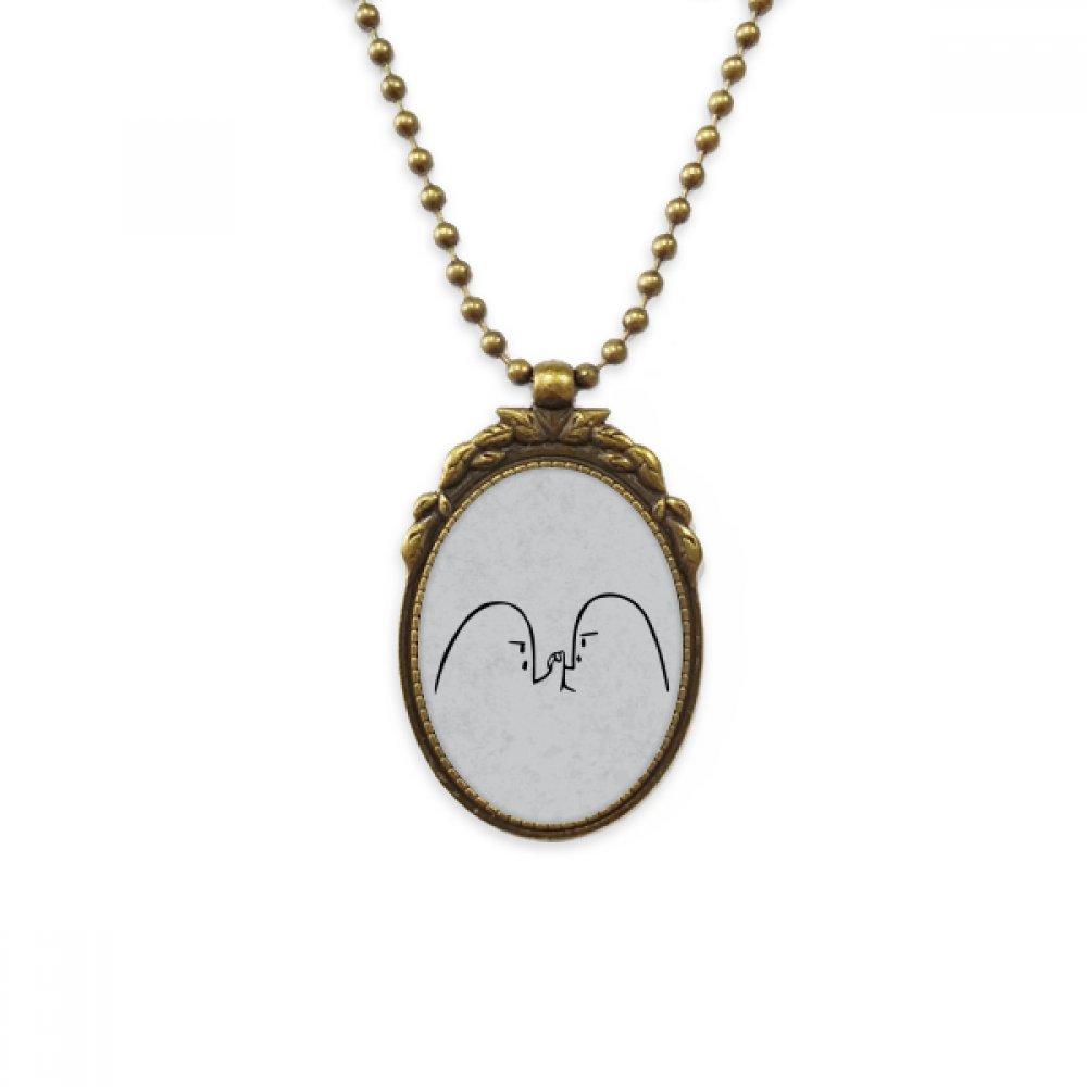 DIYthinker Wrist Wrestling Black Cute Chat Emoji Antique Brass Necklace Vintage Pendant Jewelry Deluxe Gift