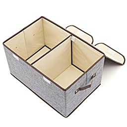 Large Storage Boxes [3-Pack] EZOWare Large Linen Fabric Foldable Storage Cubes Bin Box Containers Drawers with Lid and Handles - Gray