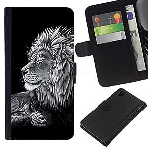 All Phone Most Case / Oferta Especial Cáscara Funda de cuero Monedero Cubierta de proteccion Caso / Wallet Case for Sony Xperia Z1 L39 // Black White Art Drawing Lion Big Feline