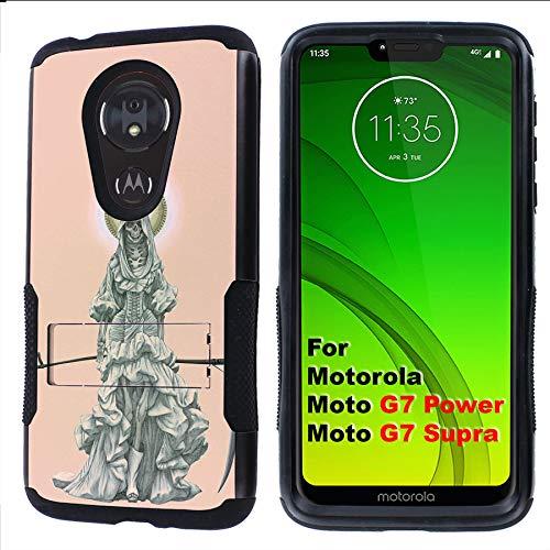 (G7 Power/Supra Rugged Case [Mobiflare] [Black] Air Grip Clamshell Case with Kickstand [Santa Muerte] for Motorola G7 Power/Supra)