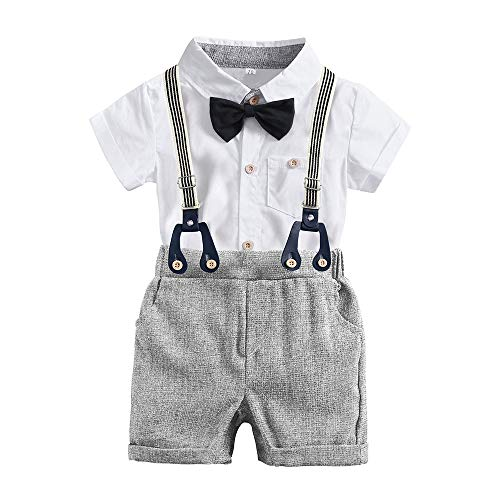 - Baby Boys Gentleman White Outfits Suits Infant Short Sleeve Shirt+Bib Pants+Bow Tie Overalls Clothes Set