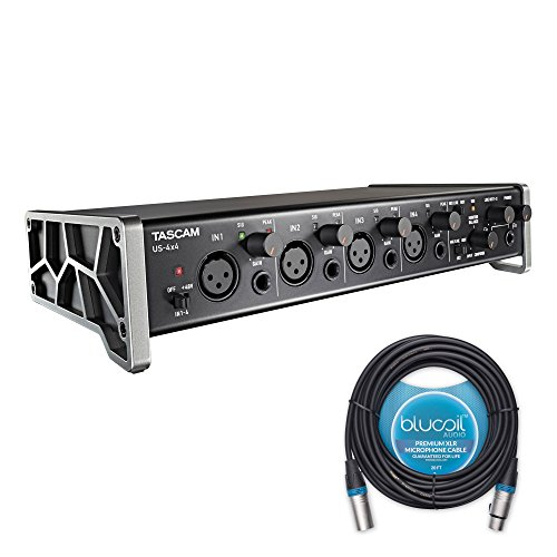 Tascam US-4x4 USB Audio / MIDI Interface -INCLUDES- Blucoil Audio 20' Balanced XLR Cable