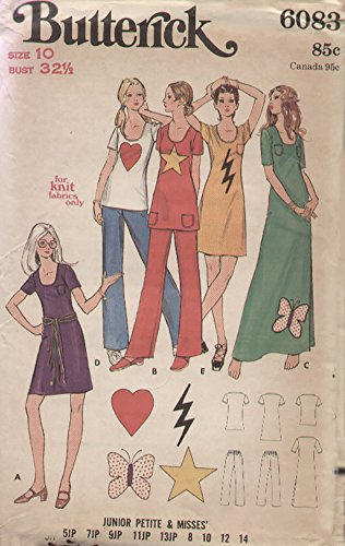 Butterick 6083 Vintage 1970s Dress Tunic Pants for Knit Fabric Sewing Pattern with Appliques B32 ()