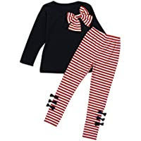 Clearance ! Yang-Yi Kids Baby Girls Clothing Long Sleeve Bowknot Dress+Stripe Pants Set (110cm/3/4T, Navy)