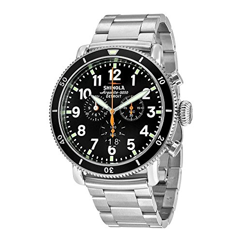 Shinola The Runwell Sport Chrono Black Dial Stainless Steel Mens Watch S0100090