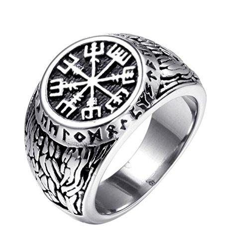 Titansten Mens Stainless Steel Vegvisir Viking Compass Rune Geometric Pattern Emboss Design Biker Style Ring (10)