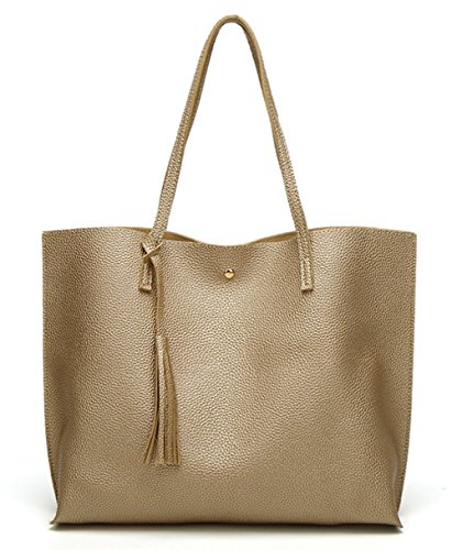 - Women's Soft Leather Tote Shoulder Bag from Dreubea, Big Capacity Tassel Handbag Golden
