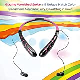 Bluetooth Headphones Headset Rymemo Newest 20 Hrs Continuous Playing Time Wireless Music Stereo Sports Running Earphones Vibration Neckband Style for Cellphone,Pink-Black