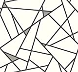 York Wallcoverings RY2703 Risky Business 2 Prismatic Removable Wallpaper, Black/Metallic Gray/White