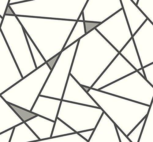 York Wallcoverings RY2703 Risky Business 2 Prismatic Removable Wallpaper, Black/Metallic Gray/White