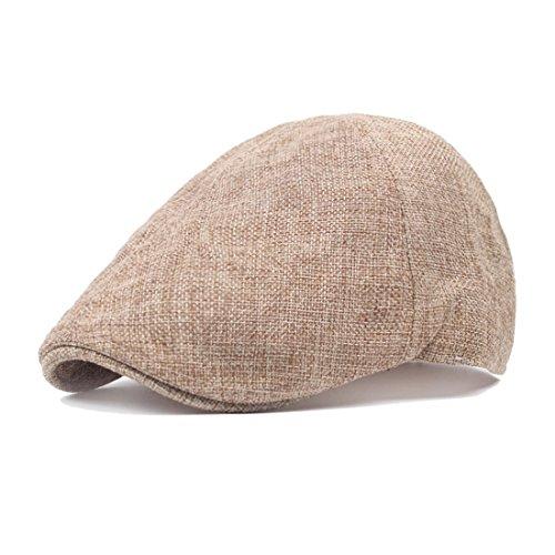 10e2c291 King Star Men's Linen Duckbill Ivy Newsboy Hat Scally Flat Cap Khaki