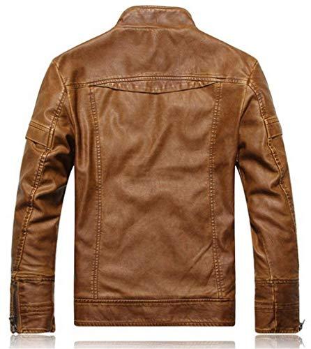 Inverno Vintage Ntel In Retro Uomo Pelle Classic Da Abiti Maniche Stand 1 Buona Taglie Moto Giacca A Comode Lunghe Colletto Finta gelb Autunno Biker twzHxz