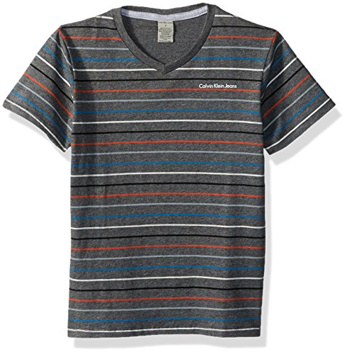 Calvin Klein Little Boys' Gamma Vneck Tee, Charcoal Heather, 5 by Calvin Klein