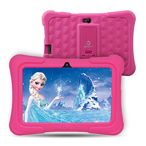 Dragon Touch Y88X Plus Tablet for Kids 16 GB 2019 Edition, 7 inch HD IPS Display WiFi Android Tablet, Kidoz Pre-Installed with All-New Disney Content - Pink