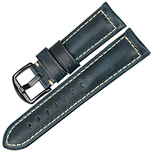 MAIKES Watch Band, Vintage Oil Wax Leather Watchband Greasedleather Wristband