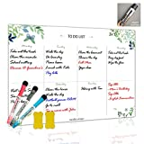 Dry Erase Board Magnetic Whiteboard for Fridge by Nardo Visgo with 3 Magnetic Markers and 2 Erasers,Message Note Board for Meal Planning Chores to do List and Grocery List 11.4''X16.1''
