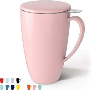 Sweese 201.108 Porcelain Tea Mug with Infuser and Lid, 15 OZ, Pink