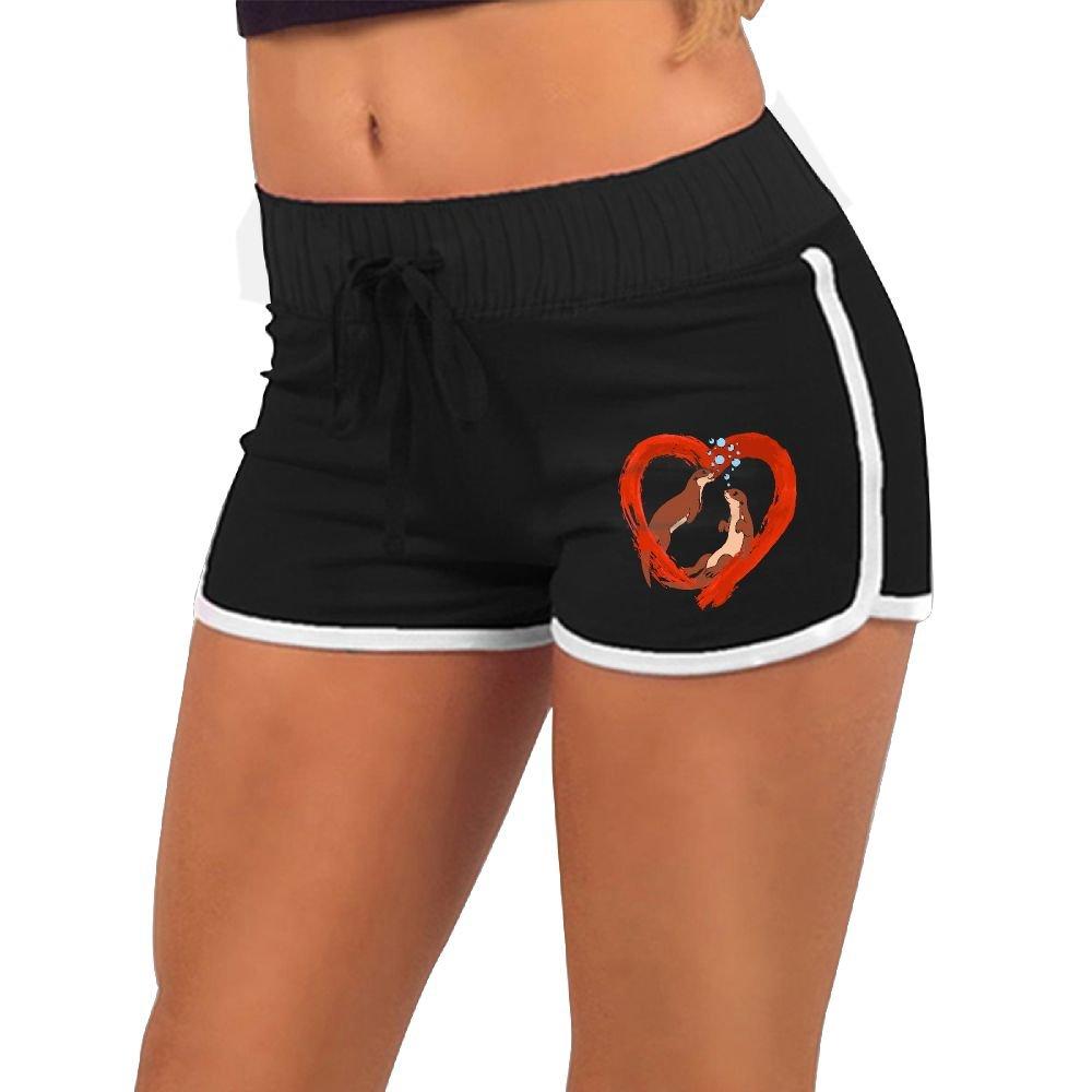 Baujqnhot Splash Love Heart Otter Girls Comfort Waist Workout Running Shorts Pants Yoga Shorts