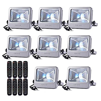 LOFTEK 30W LED Flood Light, RGB Spotlight with Remote Control, IP66 Protection and UL Listed Plug, 16 Colors Changing and 6 Levels Adjustable Brightness for Outdoor Decoration, Silver, Pack of 8