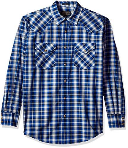 (Pendleton Men's Long Sleeve Button Front Classic-fit Frontier Shirt, Navy Plaid, SM)