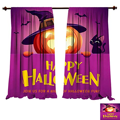 DragonBuildingMaterials Curtains for Bedroom Happy Halloween! Jack O Lantern Pumpkin Witch hat with Big Signboard 5 Bedroom Living Room Modern Home ()
