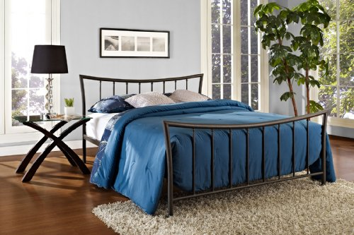 DHP Bali Metal Bed with Stylish Headboard and Footboard, Includes Metal Slats, Queen Size, Bronze