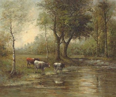 The Polyster Canvas Of Oil Painting 'the Cattles In The River Bank' ,size: 10x12 Inch / 25x30 Cm ,this Art Decorative Prints On Canvas Is Fit For Living Room Gallery Art And Home Artwork And Gifts