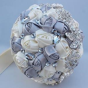 FYSTORE Luxury Wedding Bride Holding Rose Flowers Bouquet with Rhinestone Brooch Lace Handle 18cm 96