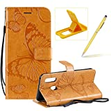 Strap Leather Case for Galaxy A20E,Wallet Leather Case for Galaxy A20E,Herzzer Premium Stylish Pretty 3D Yellow Butterfly Printed Magnetic Soft Rubber Stand Case with Card Slots
