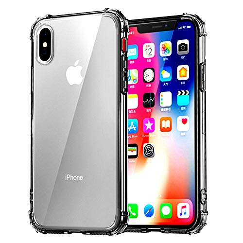 (iEugen Case,Compatible iPhone Xs MAX case,Transparent Slim Protective Case Cover, Reinforced TPU Bumper Frame Corner Drop Absorption Apple iPhone Xs Max 6.5 Inch 2018 (Black Clear))