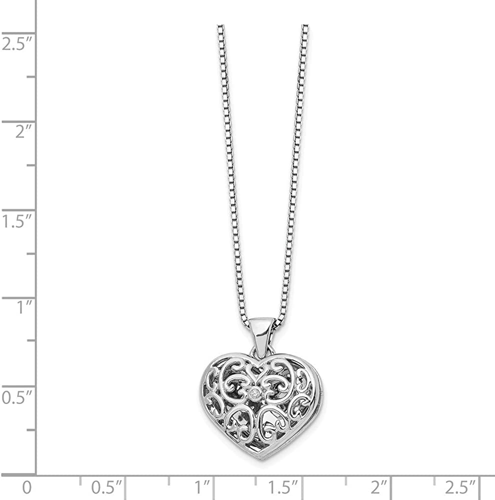 Beautiful Sterling silver 925 sterling SS White Ice .01ct Diamond Star Round Locket Necklace