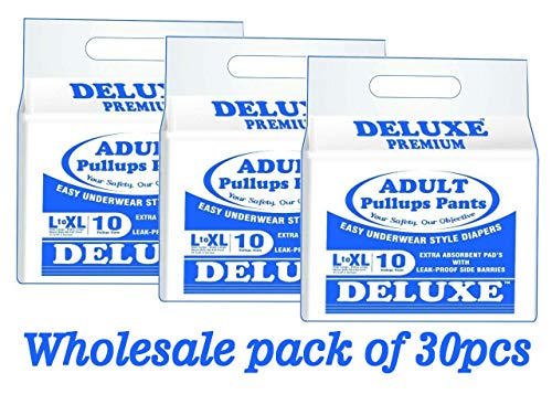 Deluxe Hygienic Adult Diapers Pullups Pants (L-XL/80-120 Cm/31-47 Inches)-30 Pieces/Pack of 3